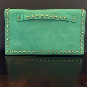 Green leather like and studded trimmed clutch
